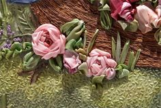 fabric roses and ribbon leaves