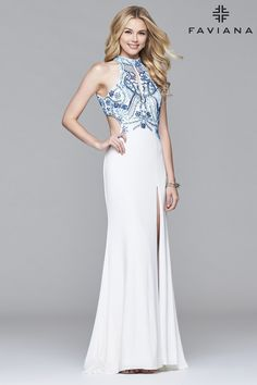 77517121 Perfect for every body shape, the fitted, beautifully #beaded, #halter  #bodice and flowy #skirt is separated by side #cutouts. This comfortable  dress is ...