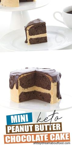 This sweet little low carb chocolate peanut butter cake has built in portion control. Serves 2 to 4 and it's easy to make too! No leftovers to tempts you. Ketogenic Recipes, Keto Recipes, Cake Recipes, Dessert Recipes, Ketogenic Diet, Breakfast Recipes, Protein Recipes, Keto Foods, Recipes Dinner