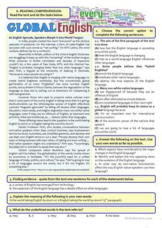 This test covers the topic - English as a world language. It discusses whether the English language is becoming too dominant (threatening other languages) or. Teaching English Grammar, English Writing Skills, English Reading, English Lessons, English Vocabulary, Learn English, Reading Comprehension Worksheets, Reading Passages, Reading Practice