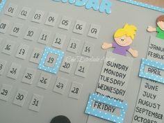 Painel Calendário em eva.  Calendário Permanente e em Inglês.  Dia - Mês - Dia da semana  Cores e tema totalmente personalizáveis. R$ 55,00