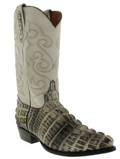 Mens crocodile alligator cowboy boots natural leather tail cut western exotic