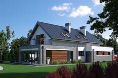 Projekt domu Fiodor G2 133,7 m2 - koszt budowy - EXTRADOM Beautiful House Plans, Beautiful Homes, Balcony Design, Architect House, Good House, Home Fashion, Bungalow, Villa, Cottage