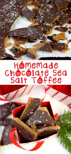 The Tastiest Homemade Christmas Gift: Chocolate Sea Salt Toffee Chocolate Sea Salt Toffee! What hostess wouldn't want this as a gift? Yummy Treats, Delicious Desserts, Sweet Treats, Dessert Recipes, Yummy Food, Tasty, Holiday Baking, Christmas Baking, Homemade Christmas Candy