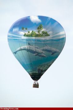 Water and Sky Painted Hot Air Balloon Love Balloon, Balloon Rides, Hot Air Balloon, Air Balloon Festival, Balloon Pictures, Balloon Flights, Vintage Neon Signs, Air Ballon, Bubble Balloons