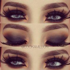 Smokey eyes with gigantic lashes. Gorgeous Eyes, Gorgeous Makeup, Love Makeup, Makeup Tips, Makeup Looks, Hair Makeup, Makeup Ideas, You're Beautiful, Flawless Makeup