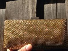 Gold Mod Rhinestone Wedding Clutch Formal Clutch by InveighBridal, $25.00