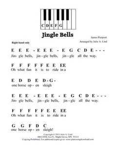 Jingle Bells, easy pre-staff music with letters for beginning piano lessons. Piano Songs For Beginners, Beginner Piano Music, Easy Piano Sheet Music, Sheet Music Notes, Jessie J, Christmas Piano Music, Piano Sheet Music Letters, Keyboard Noten, Pitch Perfect 2
