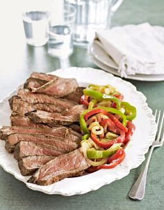 Classic dinner: Steaks with Peppers and Onions #recipes