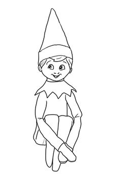 coloring pages/elf on a shelf | Christmas Elf on Shelf coloring page