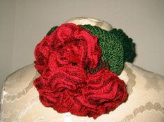 Ruffled Roses - ruffle yarns can make more than the twirly scarves! Free pattern!