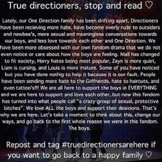 We ARE directioners. Aren´t we? This is for the boys, not for us. Just take a minute and read it. #truedirectionersarehere