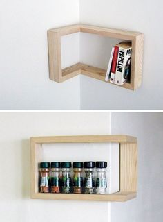 Incredibly Cool Shelves - cool shelves, unique shelves, unusual shelves Corner shelves - outside the bathroom - in the main doorCorner shelves - outside the bathroom - in the main door Diy Corner Shelf, Corner Wall, Cool Shelves, Unique Shelves, Diy Furniture, Furniture Design, Furniture Projects, Diy Casa, Regal Design