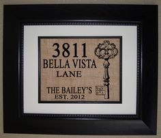 Personalized House Warming Gift BURLAP Print .. Makes a Unique New Home Gift. $18.00, via Etsy.