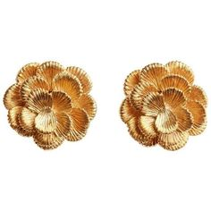 Preowned Lg Treasures Kutchinsky Gold Flower Earrings, Circa 1970 (10.575 BRL) ❤ liked on Polyvore featuring jewelry, earrings, multiple, 18 karat gold earrings, gold jewelry, gold flower earrings, 18k gold jewelry and 80s jewelry