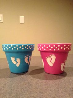 Items similar to Hand painted pink Baby shower flower pots. Baby shower gift on Etsy