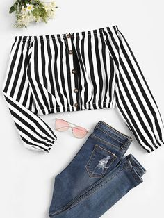 2019 Of shoulders cripple top Online Sale Cute Girl Outfits, Cute Summer Outfits, Cute Casual Outfits, Pretty Outfits, Stylish Outfits, Girls Fashion Clothes, Teen Fashion Outfits, Look Fashion, Outfits For Teens