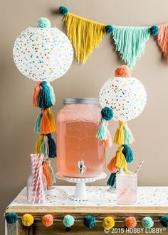party tassels and pom poms Fun DIY Easy Birthday Party Ideas for Kids Party Inspiration For kids, toddlers, babies. Lila Party, Festa Party, Baby Party, Colorful Baby Showers, Diy Girlande, Partys, Birthday Decorations, Parties Decorations, Pom Pom Decorations