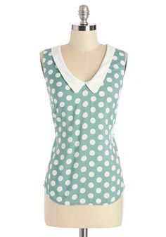 Summer Book Club Top in Green - Green, White, Polka Dots, Peter Pan Collar, Casual, Vintage Inspired, 60s, Sleeveless, Collared Cute Blouses, Blouses For Women, Women's Blouses, Tunics, Vintage Shorts, Vintage Outfits, Indie Outfits, Fashion Outfits, Girl Fashion
