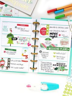 two mini Happy Planners™ decked out for December — me & my BIG ideas Planner Tips, Planner Layout, Life Planner, Printable Planner, Planner Stickers, Printables, Planer Organisation, Organization, Bujo