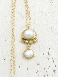 24k Gold Pearls Necklace, Weddind Jewelry, Bridal Necklace, Handmade Solid Gold Necklace, Fine Jewelry