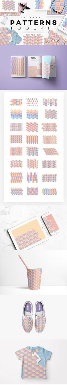 Geometric Patterns Toolkit - A set of 24 modern geometric pattern blocks that can be easily turned into seamless patterns or creative compositions by playing around and building one block to another. Set contains colorful circular, cubicle, square, rectangular, triangular, linked, native and hexagonal pattern blocks. By Polar Vectors $20 #affiliatelink