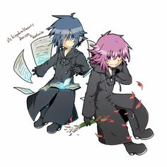 Zexion and Marluxia. When we were younger our friends were assigning Kindom Hearts characters to everyone ( remember that, @canttakeitin? You were the ringleader!;) ). Anyway, I was assigned Zexion and @kittykatty92 was assigned Marluxia. I'm so proud.:3