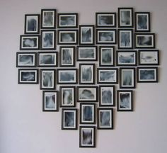 Did this with my wedding photos using frames from Dollar Tree.