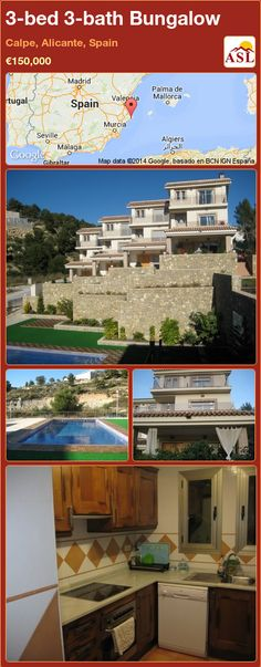 Bungalow for Sale in Calpe, Alicante, Spain with 3 bedrooms, 3 bathrooms - A Spanish Life Calpe Alicante, Alicante Spain, Murcia, Huge Bedrooms, Local Builders, Bungalows For Sale, Amazing Sunsets, Patio Doors, Ground Floor