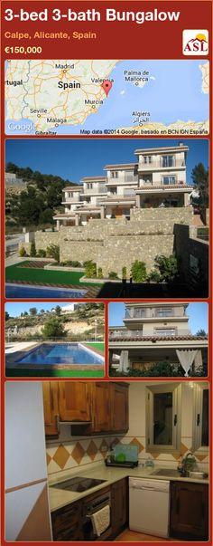3-bed 3-bath Bungalow in Calpe, Alicante, Spain ►€150,000 #PropertyForSaleInSpain