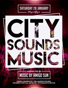 City Sounds Music Free Flyer Template - http://freepsdflyer.com/city-sounds-music-free-flyer-template/ Enjoy downloading the City Sounds Music Free Flyer Template created by Elegantflyer!  #City, #Club, #Desgin, #Dj, #EDM, #Electro, #Elegant, #Event, #Nightclub, #Party, #Urban