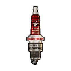 From the Busted Knuckle licensed collection, this Spark Plug custom metal shape… Engine Tattoo, Biker Tattoos, Vintage Labels, Retro Vintage, Black Panther Marvel, Ex Machina, Motorcycle Art, Old Signs, Custom Metal