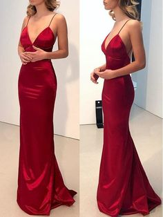 Simple Backless Dark Red Mermaid Long Evening Prom Dress 0122 by RosyProm, $145.99 USD