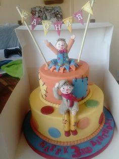Mr tumble and grandad tumble cake loved making this one