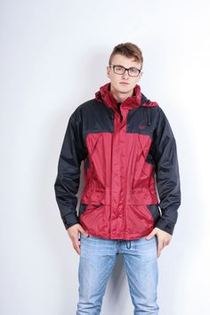 Etirel Mens M Jacket Parka Hood Red Waterproof Nylon Navy Blue Vintage Track Top