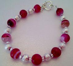 Beautiful Semi Precious Pink Striped Agate Bracelet
