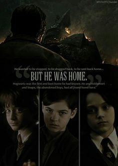 The three brothers of the deathly hallows: Harry Potter, Voldemort, and Severus Snape. Saga Harry Potter, Harry Potter Quotes, Harry Potter Love, Harry Potter Universal, Harry Potter World, Lord Voldemort, Movies Quotes, Hp Quotes, Quotes Inspirational
