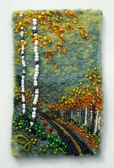 bead embroidery by Jo Wood. Large photo of Tree Series Ribbon Embroidery, Beaded Embroidery, Embroidery Stitches, Embroidery Patterns, Pocket Letter, Jo Wood, Art Perle, Fabric Postcards, Weaving Art