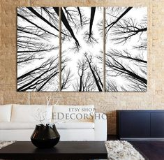 Large Wall Art Canvas Prints - Dry Tree Branches Wall Art - Forest Canvas Art Print - Framed Crisp Prints MC-17