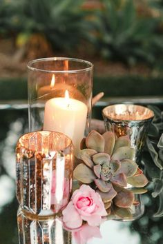 Updated Theme for wedding:   Rustic elegance with mercury glass, succulents and ivory/blush flowers.