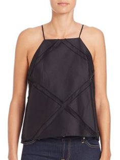 MILLY Trapeze Sheer-Panel Camisole. #milly #cloth #camisole