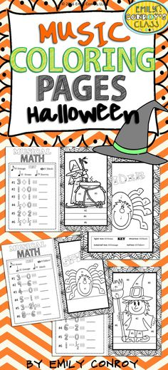 Halloween Music Coloring Pages contains 16 color by note and music math coloring sheets. The music math pages require students to solve a simple equation prior to coloring. These are great for integrating math into the music room! Simpler color by note sheets are included for younger students.