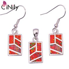 CiNily Created Orange Fire Opal Silver Plated Jewelry Set Wholesale Hot Sell Fashion for Women Jewelry Pendant Earrings OT69