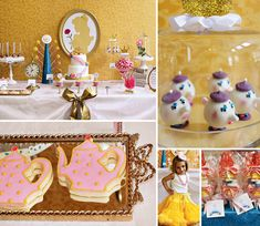{Princess Party Alert} Iconic roses, royal crowns and teapots are sprinkled throughout this Belle Inspired Beauty and the Beast Party by Cake 5 Sweet Designs! #BeautyandtheBeast