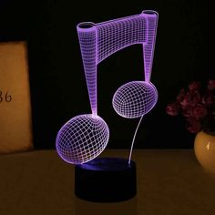 Beautiful Music 7 Colours LED Table Lamp Kids Night Light as Sleep Lights with Colorful Change Lights Wedding Decoration Dj Headphones, Retro Lighting, Gift Store, Optical Illusions, Night Light, Best Gifts, Table Lamp, Lights, 3d