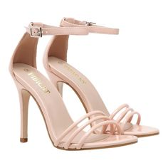 Ankle Strap Strappy Patent Leather Sandals (150 RON) ❤ liked on Polyvore featuring shoes, sandals, heels, pink shoes, pink heeled sandals, pink heeled shoes, heeled sandals and ankle strap heel sandals