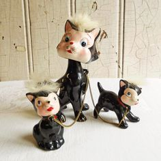 Vintage Black and White Napco Bobblehead Cat & Kittens Figurine Set - Real Fur - Mid-Century 1950s