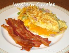 Western Omelet Ingredients:Yield: 1 omlet  Prep Time: 5 minutes  Cook Time: 5 minutes  Total Time: 15 minutes   Fluffy eggs with ham, green peppers, onions and cheese.  3 eggs  2 tablespoons water  1/4 cup chopped ham  3 tablespoons chopped green pepper  3 tablespoons chopped onion  cheese  salt and pepper  1 tablespoon butter