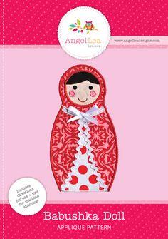 Babushka doll applique pattern. Downloadable PDF matryoshka doll applique template.