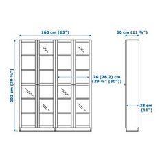 BILLY / OXBERG Reol, hvid - 160x202x30 cm - IKEA
